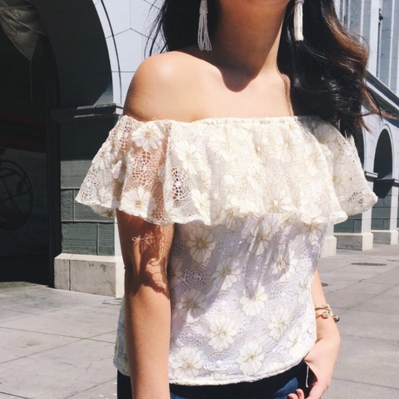 New White Lace Off Shoulder With Gold Etching